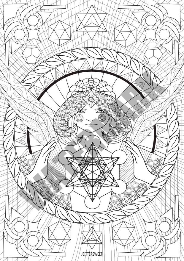 Mandala Coloring Printable Sheet With Archangel Metatr