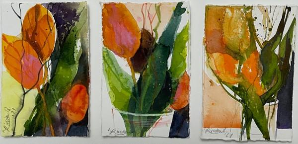 Aquarell: Tulpen auf kleinem Format