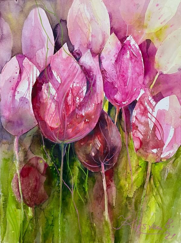 Tulpen in Aquarellmischtechnik auf großem Format