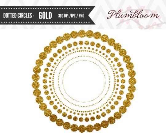 Dotted Circles Clip Art 0020 - Glitter Gold
