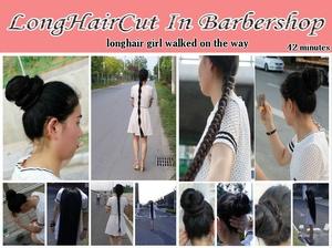 longhair girl walked on the way