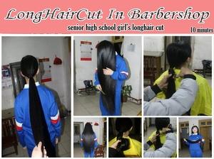 senior high school girl's longhair cut