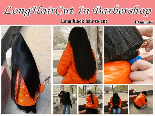 Long black hair to cut