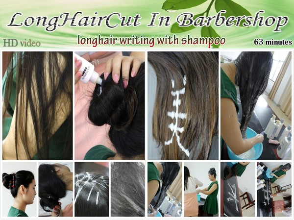 longhair writing with shampoo