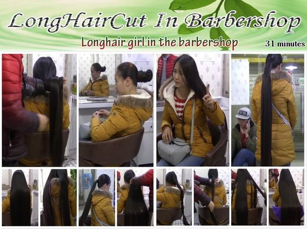 Longhair girl in the barbershop