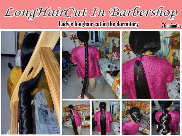 Lady's longhair cut in the dormitory