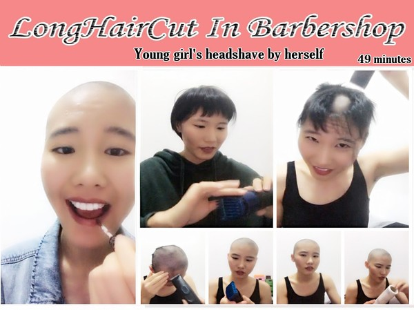 Young girl's headshave by herself