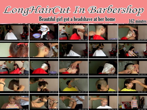 Beautiful girl got a headshave at her home