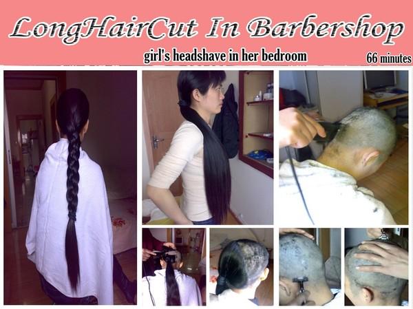 Longhair girl's headshave in her bedroom