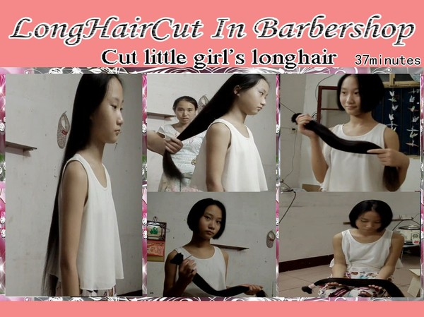 Cut little girl's longhair