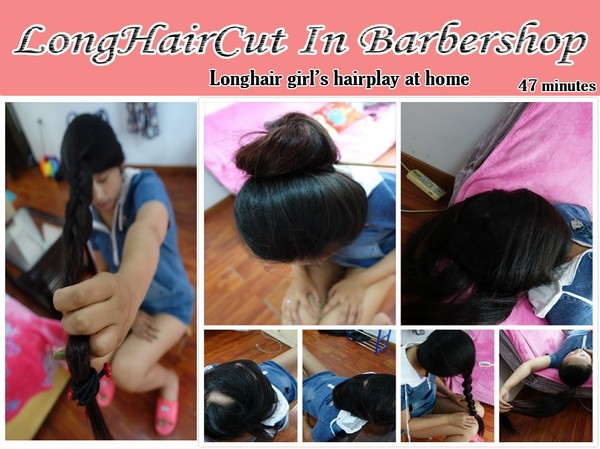 Longhair girl's hairplay at home