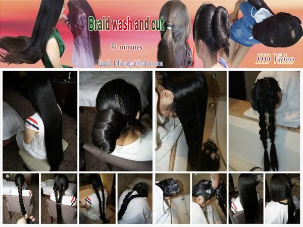 Long braid wash and cut
