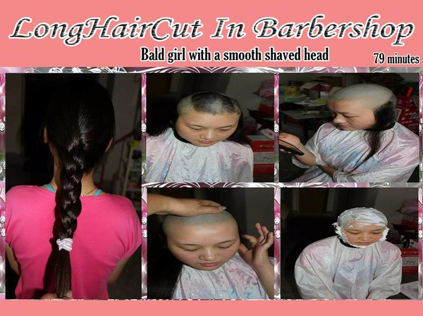Bald girl with a smooth shaved head