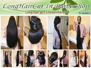 Long hair girl's headshave34
