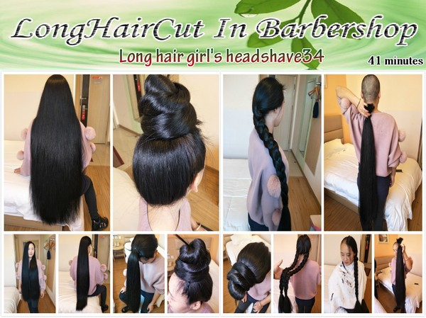 Long hair girl's headshave34