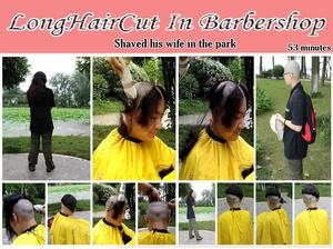 Shaved his wife in the park