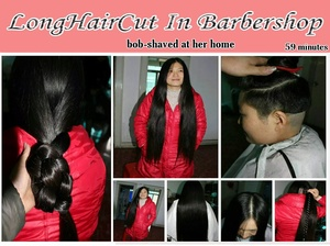 bob-shaved at her home