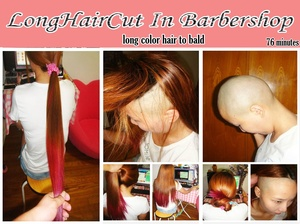 long color hair to bald