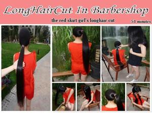 the red skirt girl's longhair cut