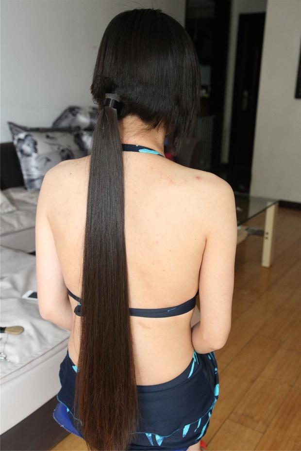 Haircut of a girl in bra
