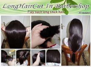 Play suck long thick hair