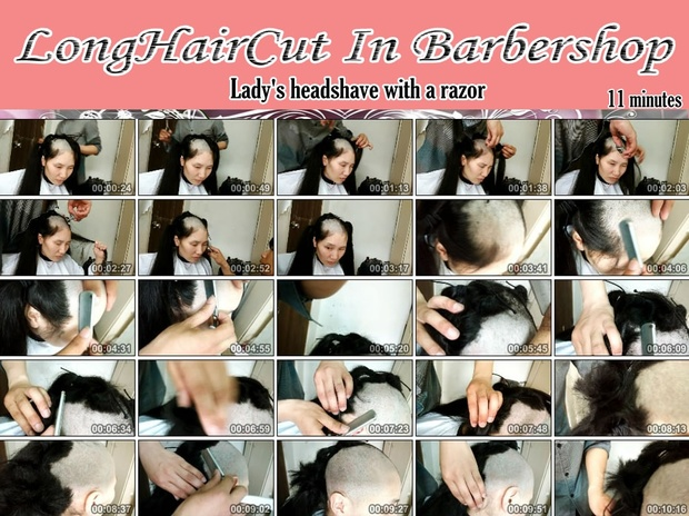Lady's headshave with a razor