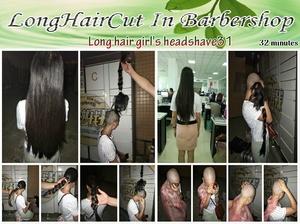 Long hair girl's headshave31