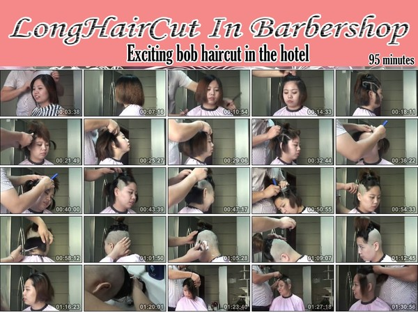 Exciting bob haircut in the hotel