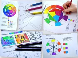 Cerchio Cromatico e Teoria del Colore: 2 fogli di lavoro stampabili