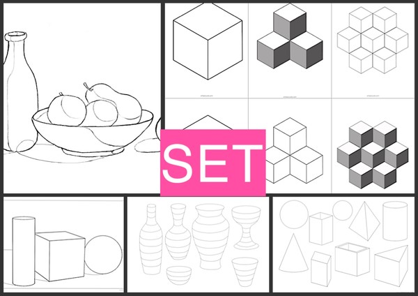 SET2 solid forms - vases - cubes - still life