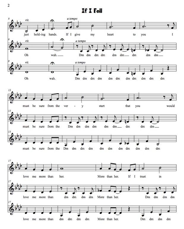 If I Fell (Beatles) SSA original arrangement