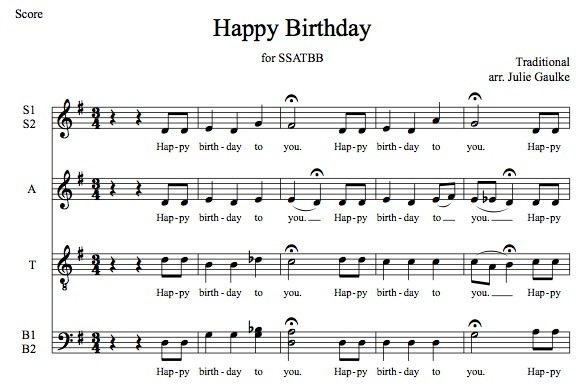 Happy Birthday SSATBB smooth jazz version