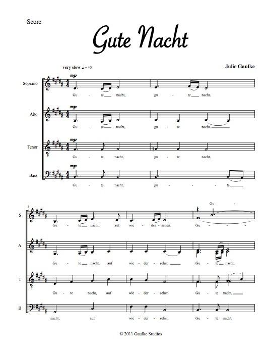 Gute Nacht - original for mixed choir a capella