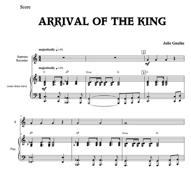 Arrival of the King with mp3 accompaniment track