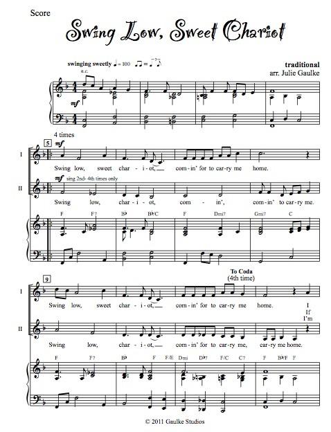 Swing Low, Sweet Chariot - original arrangement