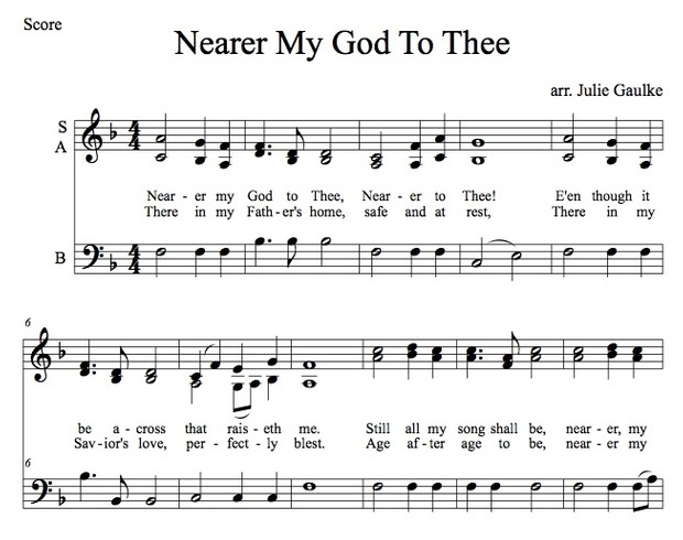 Nearer My God To Thee SAB original arrangement (simple)