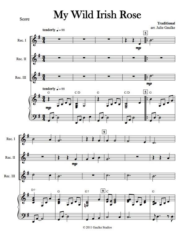 My Wild Irish Rose with mp3 accompaniment track