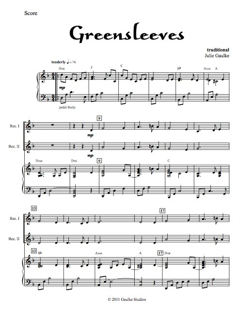 Greensleeves - recorder