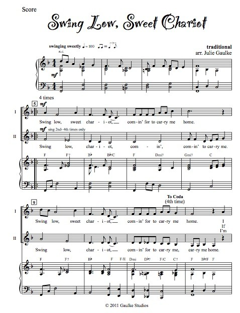 Swing Low Sweet Chariot with mp3 accompaniment track