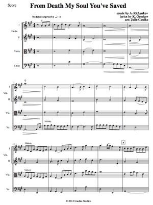 From Death My Soul You've Saved - String quartet plus bass - original arrangement