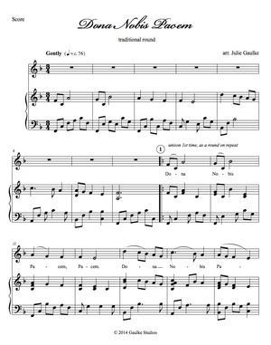 Dona Nobis Pacem (key of F) score and mp3 accompaniment