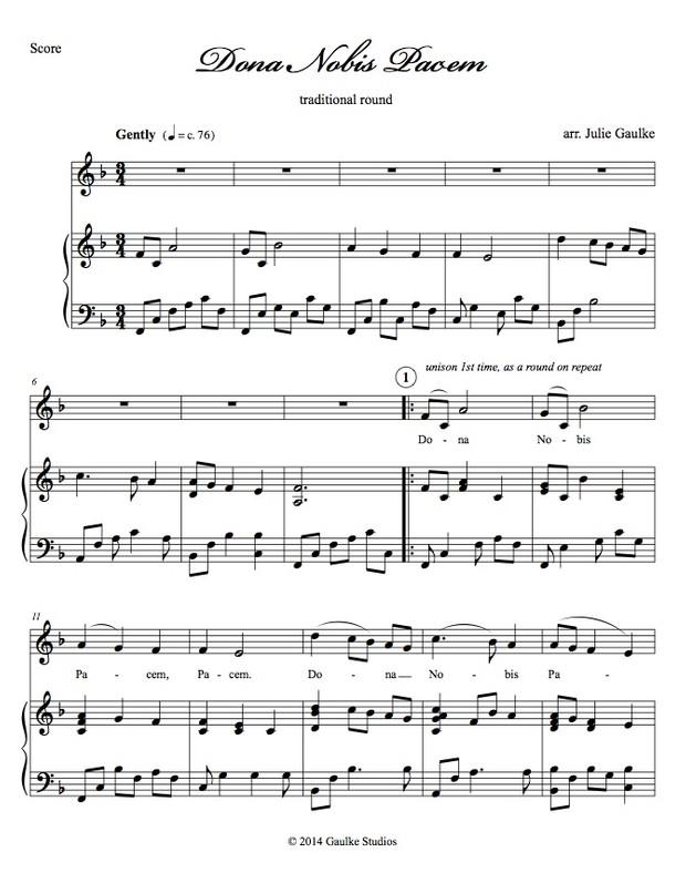 Dona Nobis Pacem (key of F) score and mp3 accompaniment