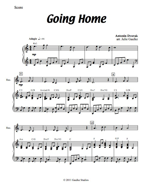 Going Home (Dvorak) original arrangement for recorder