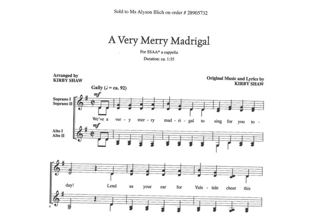 Very Merry Madrigal MP3 Audio Learning Tracks SSAA