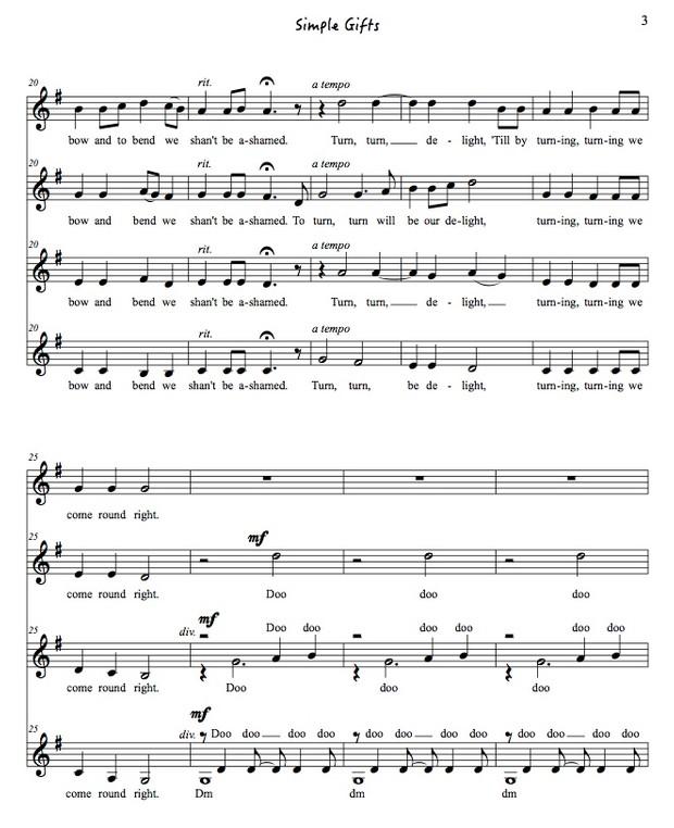 Simple Gifts original arrangement SSAA a cappella