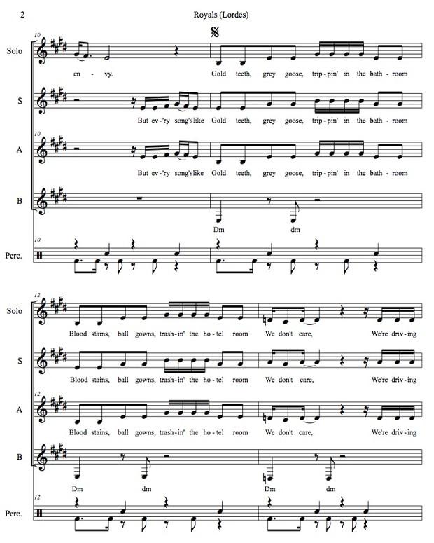 Royals (Lorde) original arrangement SAB plus solo and percussion