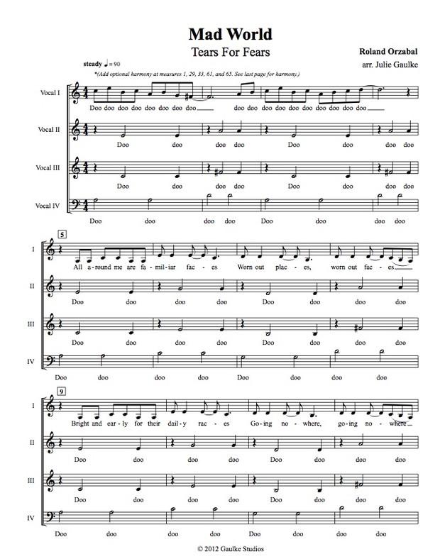 Mad World (Tears For Fears) original arrangement