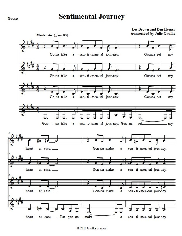 Sentimental Journey (Chordettes) transcription