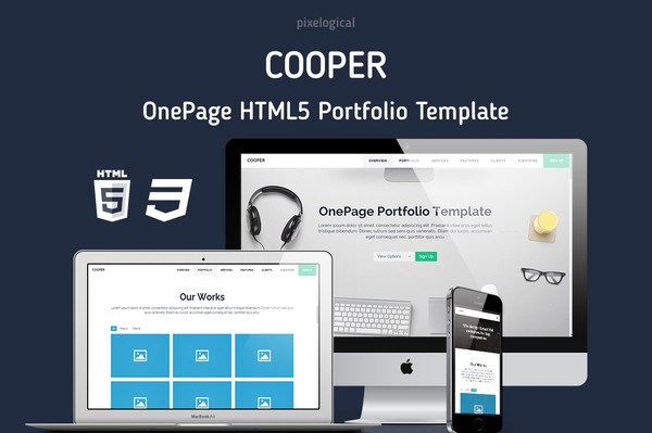 Html5 Portfolio Template | Cooper Onepage Html5 Website Template Christos Chiotis
