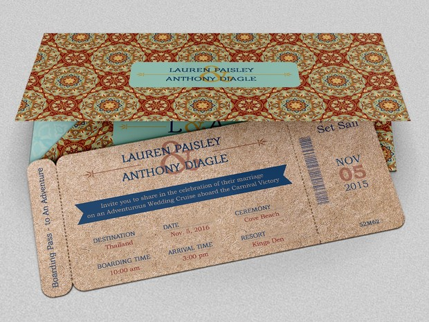 Wedding Adventure Boarding Pass Invitation Template